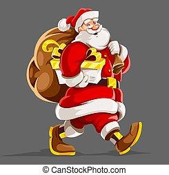 vector., sack., 贈り物, クリスマス, claus, santa, holiday.
