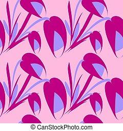 Vector sad flowers and purple tulips on a purple background.