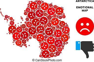 Vector Sadness Antarctica Map Composition of Sad Smileys -...