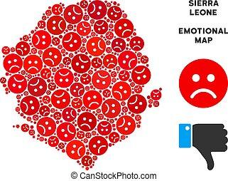 Vector Sadness Sierra Leone Map Mosaic of Sad Emojis -...