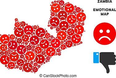 Vector Sadness Zambia Map Collage of Sad Smileys - Sorrow...
