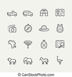 Vector safari icon set in outline style