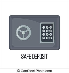 Vector Safe Icon in flat style isolated on white background.