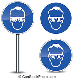 Vector safety glasses sign - Vector illustration of safety...