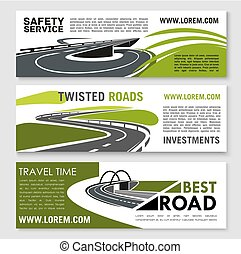 Vector safety road construction and travel banners
