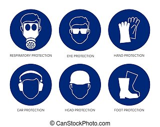 vector safety signs - Vector safety signs, set of six blue...