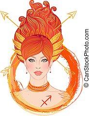 vector, sagitario, ilustración, señal, horóscopo, zodíaco, aislado, woman., narración, futuro, astrológico, girl., hermoso, moda, white.