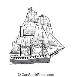 Vector Sailing Ship