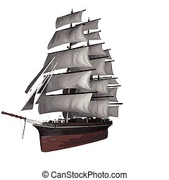 vector sailing ship illustration