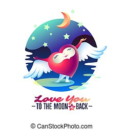 "Vector Saint Valentine love greeting card with heart, wings and words ""To the Moon and back""."