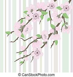 Vector sakura branch with flowers