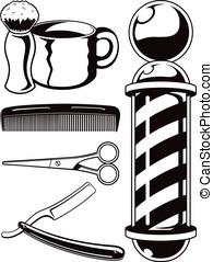 vector, salón, elementos, corte de pelo, conjunto, barbería,...