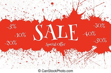 Vector Sale Banner over red paint blot background.