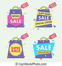 Vector sale banner set in material design style. EPS10.