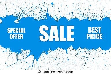 Vector Sale Banner With Bright Ink Blue Blots