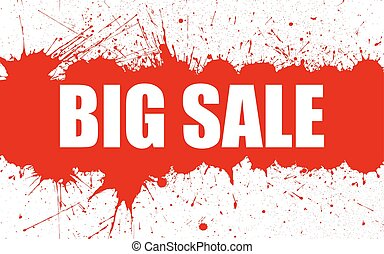 Vector Sale Banner With Bright Ink Red Blots