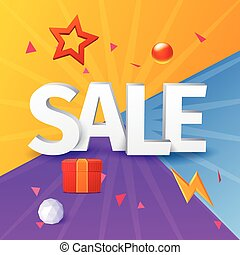 Vector sale banner with elements, on colorful background