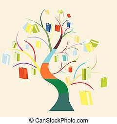 vector sale colorful tree with shopping bags