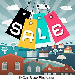 Vector Sale Label Illustration with Houses and Field on Background