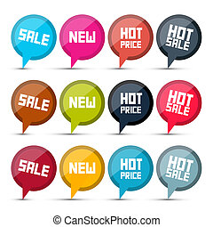 Vector Sale Labels Set on White Background
