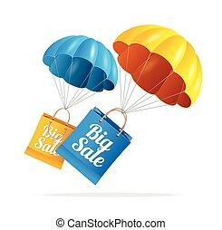 Vector sale labels with parachute
