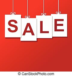 Vector sale paper label. isolated on red background.