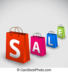 Vector sale poster made from colorful paper shopping bags