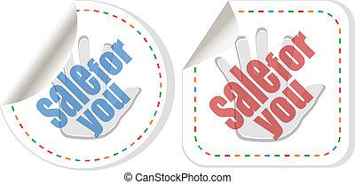 sale sticker set with hands
