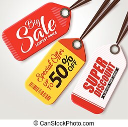 Vector Sale Tags Set with Colors