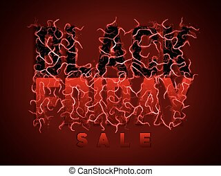 Vector Sale text with red fire flames background. Wavy threads from fiery letters. Hot Black friday sale illustration for flyers, cards, promo materials etc. Thin curly flames. eps10