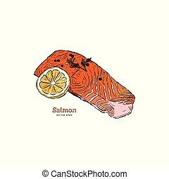 vector salmon steak hand drawn illustration.