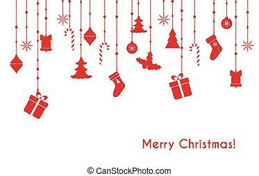 vector, saludo, tarjeta de navidad, rojo