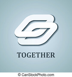 vector, samen, papier, ontwerp, mal, witte , pictogram