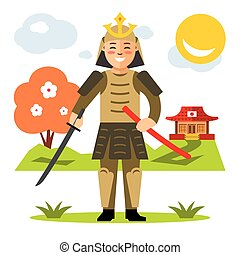 Vector Samurai japan. Flat style colorful Cartoon...
