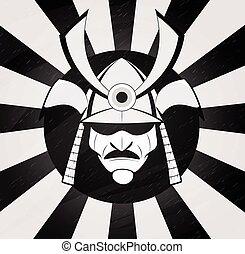 Vector samurai mask. Japanese traditional martial mask....