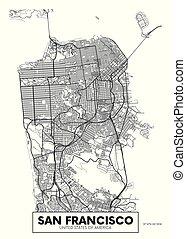 vector, san francisco, mapa ciudad, cartel