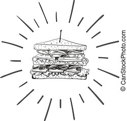 Vector Sandwich Sketch with Retro Shine, Hand Drawn illustration, Black and White Design Element.
