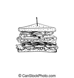Vector Sandwich with Toothpick Sketch, Hand Drawn Illustration, Outline Black Drawing Isolated.