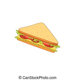 Vector sandwich with vegetables.