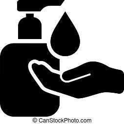 vector, sanitise, lavado, icono, manos, su