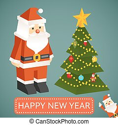 Vector Santa Claus and Christmas tree Icons