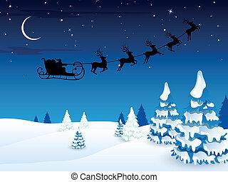 Vector Santa Claus Driving in a Sledge
