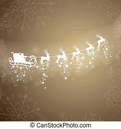 Vector Santa Claus Driving in a Sledge - Vector Illustration...