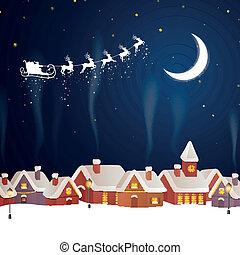Vector Santa Claus Flying over a Village