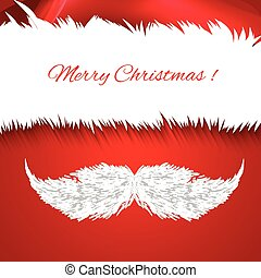 Vector Santa Claus hat and mustache. Icon. Greeting Card.