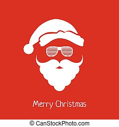 Vector Santa Claus head with hat, beard and hipster glasses.