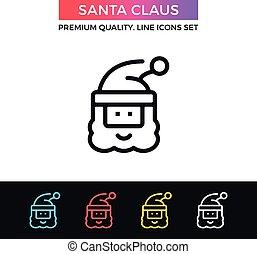 Vector Santa Claus icon. Thin line icon