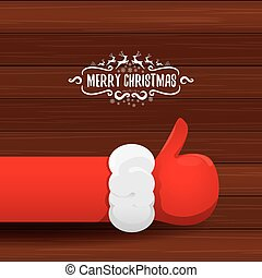 vector Santa Claus like hand icon isolated on wooden background . thumbs up santa hand symbol.