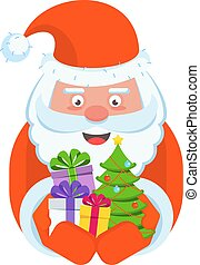 Vector Santa Claus with a handful of gifts - Santa Claus...