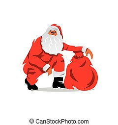 Vector Santa Claus with sack of gifts Cartoon Illustration.